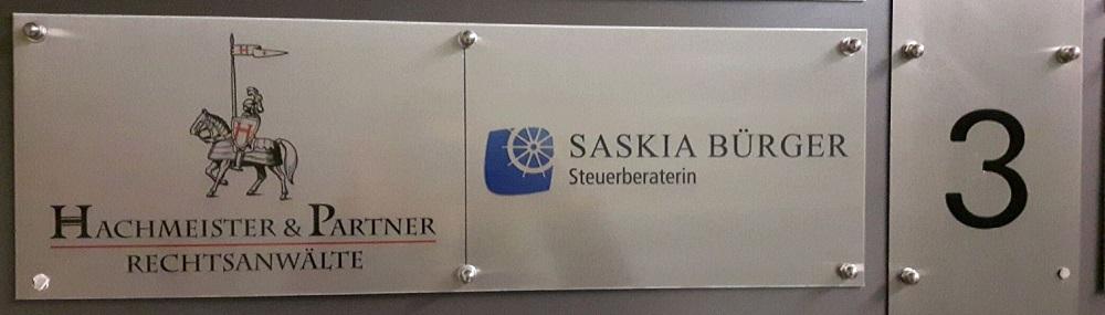 Kanzleischild der Steuerkanzlei in Hannover